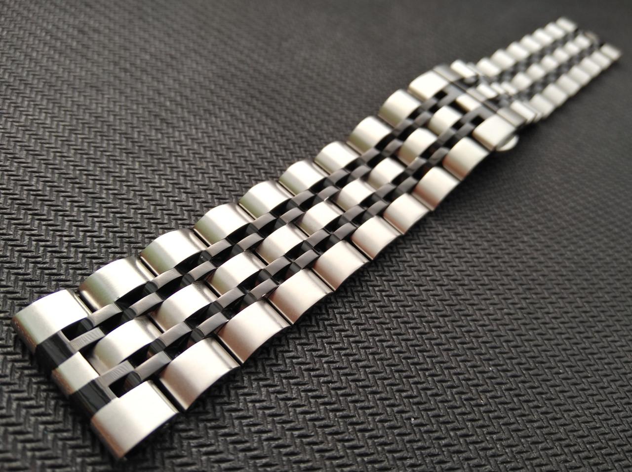 Браслет для часов из нержавеющей стали , литой, мат/глянец. 22 мм