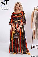 Свободное шифоновое платье макси 52-56
