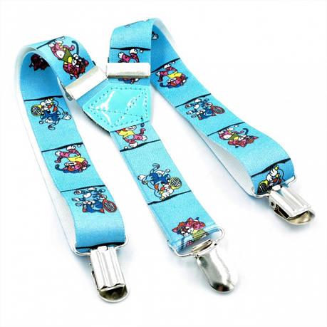 Подтяжки детские Голубые с рисунком Weatro det-pd-009, фото 2