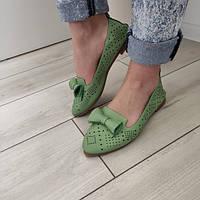 Балетки женские зеленые экокожа 36р