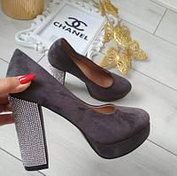 Туфли женские на каблуке серые экозамша