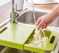 Многофункциональная разделочная доска трансформер для кухни на мойку для фруктов и овощей