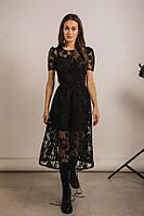 Нарядное платье-миди из сетки с набивными цветами черное