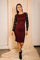 Нарядное платье с длинными рукавами из кружева и вырезом на спине бордовое