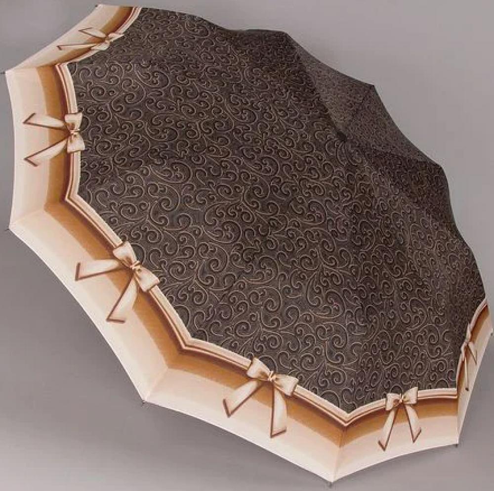 Зонт ZEST, полуавтомат серия 10 спиц, расцветка Бантик коричневый