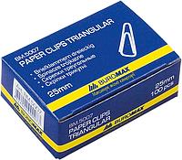 Скріпки трикутні нікельовані Buromax 25 мм, 100 шт в упаковці