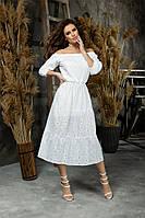 Женское платье прошва,рукав три четверти,открытые плечи в размерах от 42 до 48