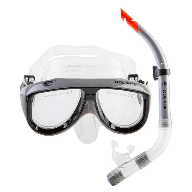 Набор для плавания маска с трубкой Dolvor серебро М213-1+SN52