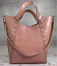 133 Натуральная кожа пудра Сумка женская-шоппер из натуральной кожи розовая женская сумка кожаная, фото 2