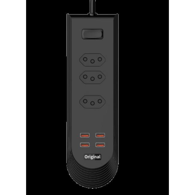 Сетевой удлинитель Bokali BKL-08 2M (3 розетки, 4 USB, 3,4A) Black