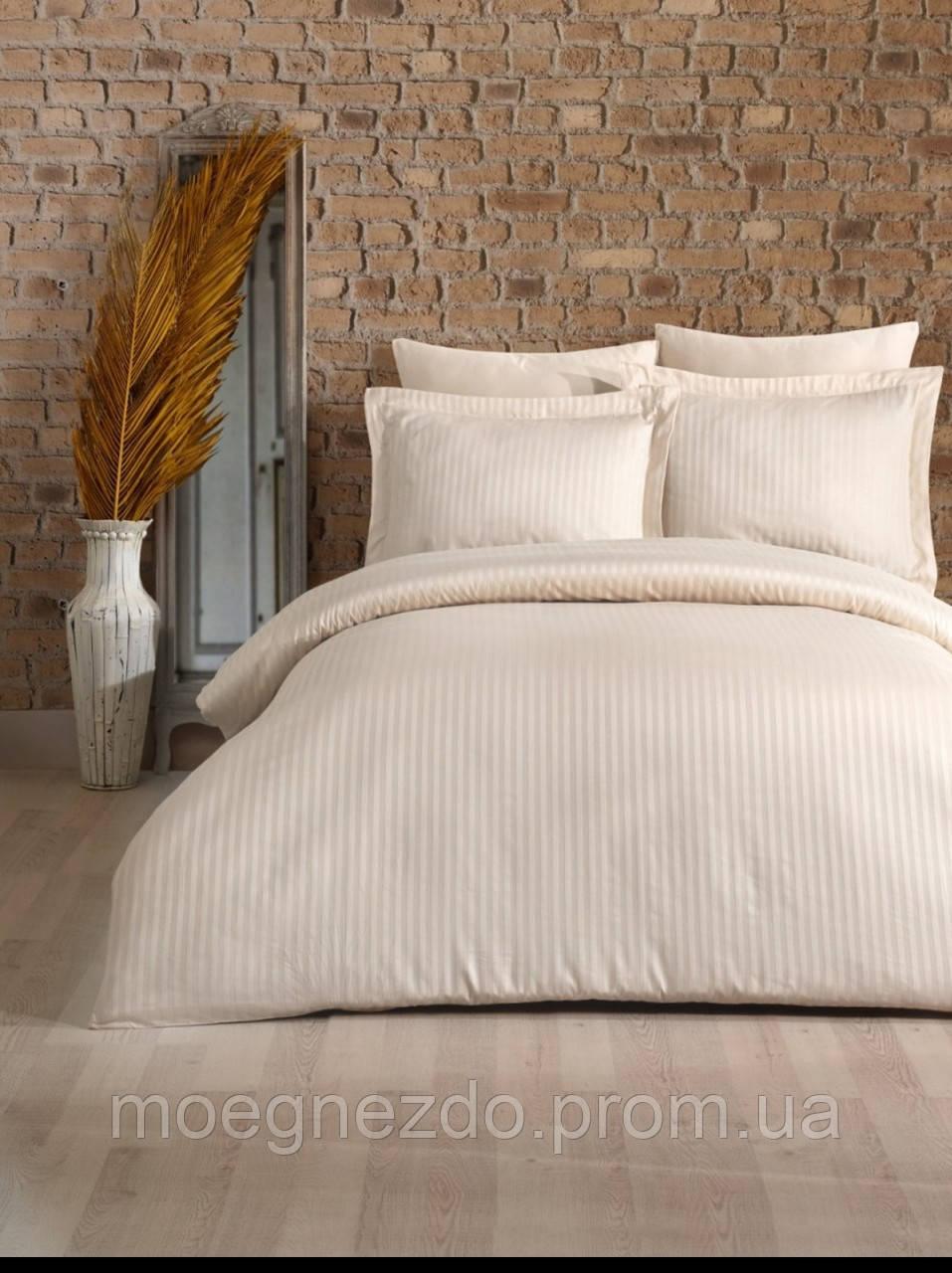 Евро постельное белье страйп-сатин полосы светлый ванильный шампань