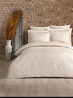 Евро постельное белье страйп-сатин полосы светлый ванильный шампань, фото 1