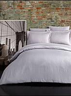 Евро постельное белье страйп-сатин полосы светло серый серебро