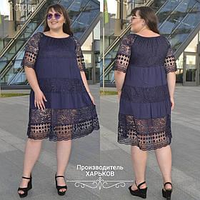 Легкое летнее платье дорогой гипюр + Коттон Турция  Размеры универсальный 50-54