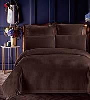 Евро постельное белье страйп сатин полосы коричневый шоколадный