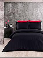 Евро постельное белье страйп-сатин полосы черное