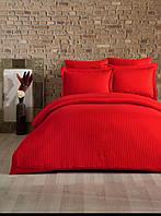 Евро постельное белье страйп-сатин полосы красное