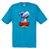 Футболка детская Бравл Старс Леон Акула  (Brawl Stars Shark) голубая
