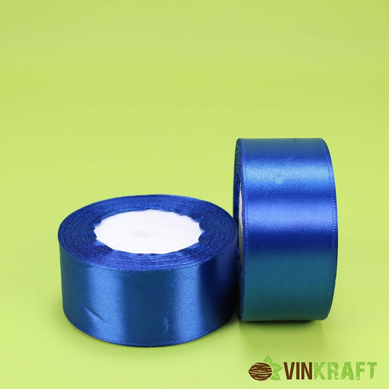 Стрічка атласна 40 мм (23м) синя (електрик)
