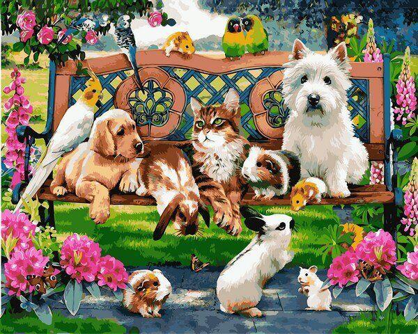 MR-Q2227 Набор живописи по номерам Домашние животные в парке