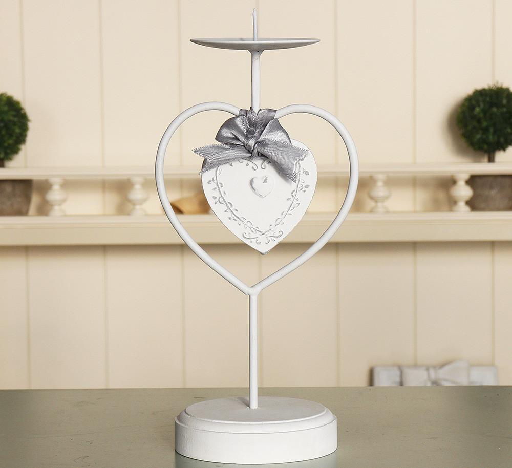 Подсвечник металлический-Сердце с бантом Гранд Презент 258109