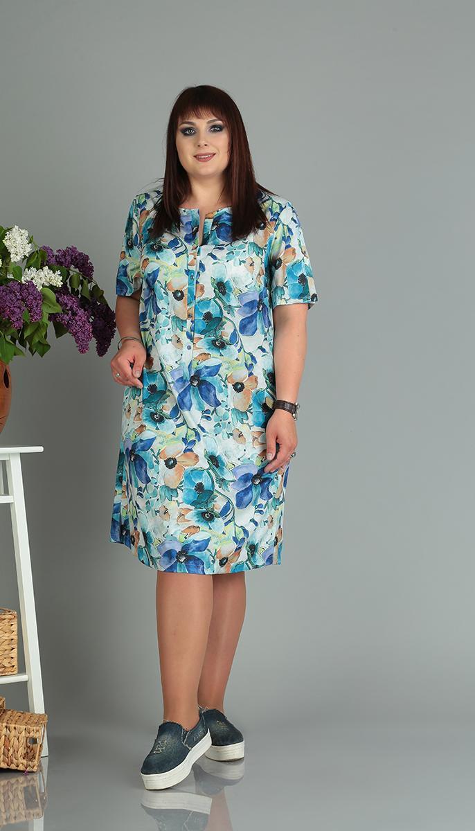 Платье Novella Sharm-3513-C белорусский трикотаж, синие тона, 60