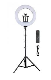 Набор RL-21 Профессиональная кольцевая лампа 54см с штатив-треногой, пультом, USB, тремя креплениями