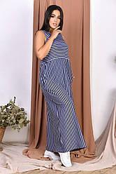 Сарафан длинный в полоску с боковыми карманами