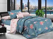 Комплект постільної білизни двосторонній Бязь GOLD 100% бавовна Фламінго і квіти Синьо - рожевий