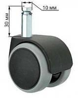 Ролик / колесо обрезинен. для офисного кресла, шток d.10мм, фото 1