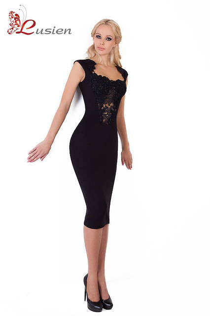 8c817ed26dc Вечернее черное платье c кружевом с декольте 08 - Производитель женской  одежды