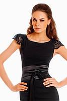Трикотажное платье с кружевом и пояском 83, фото 1