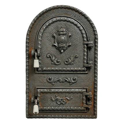 "Дверка спаренная чугунная ""Герб арка керамика"" (Румыния), фото 2"