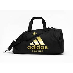 Сумка-рюкзак (2в1) с золотым логотипом Adidas Boxing (черный, ADIACC052B)