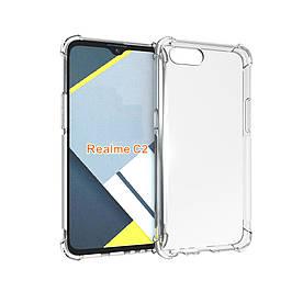 Чехол накладка для Realme C2 силиконовый с усиленными углами, прозрачный