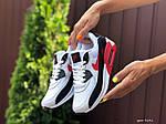Жіночі кросівки Nike Air Max 90 (біло-чорне з червоним) 9646, фото 3