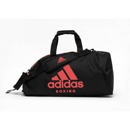 Сумка-рюкзак (2в1) с красным логотипом Adidas Boxing (черный, ADIACC052B), фото 2