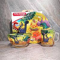 Подарочный набор посуды для детей Хороший Жёлтый динозаврик (A9551), фото 1
