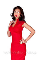 Коктельное трикотажное платье, платье футляр красного цвета 48 , фото 1