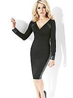 Элегантное платье с кожаными вставками