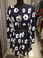 Короткое женское платье синее