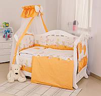 Постельный комплект для детской кроватки с бампером Горошек Twins Standard Basic, 8 эл., оранжевый