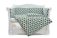 Бампер для детской кровати из бязи защитный Тукан Twins Comfort line, зеленый