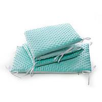 Бампер в детскую кроватку защитный хлопковый Twins Premium Minky 120 х 60 см, мятный