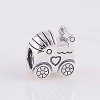 Подвеска-шарм детская коляска из серебра 925 пробы пандора (pandora)