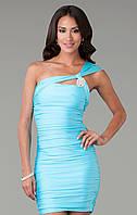 Коктейльное платье мини  платье Miss Lusien короткое от производителя бирюзовое, фото 1