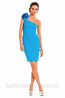Коктейльное элегантное платье футляр на одно плечо 134