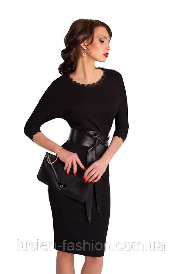 Платья женские -платье c поясом трикотажное деловое