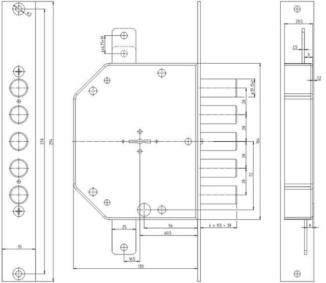 Схема замка CRSerrature 2101 MRX SX 5/116 правый