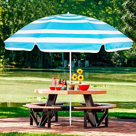 Зонт для пляжа отдыха на даче в саду с регулируемой высотой и наклоном Springos 220 см